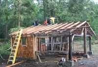 Work continues on Camp Bernard's first aid & activity shelter near Sooke, B.C.