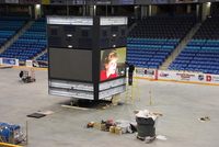 Installation of score clock at the Credit Union Centre in Saskatoon, Saskatchwan