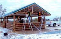 Construction of campground kitchen and boat launch in Green Lake, Saskatchewan