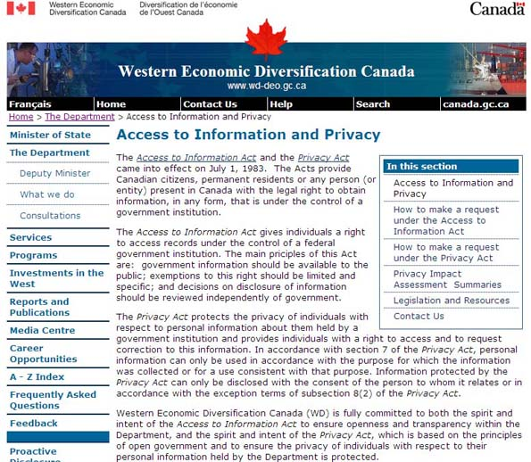 Screen shot image depicting the Access to Information and Privacy page on WD's public website