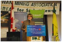 Photo of Minister Yelich announcing significant investment towards specialized training equipment to be used by SIAST's new Mining Engineering Technology program.