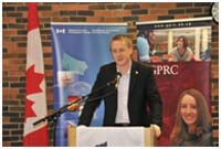Photo of Peace River Member of Parliament, Chris Warkentin, announcing funding towards Grande Prairie Regional College to establish the National Bee Diagnostic Centre.