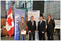 Photo of Left to right: Dr. Francisco Alhanati, Acting Managing Director of C-FER Technologies; Brian Wagg, Manager of New Technology Initiatives for C-FER Technologies; MP Mike Lake; and Mel Johnson, TransCanada Pipelines.