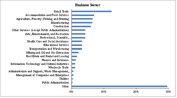 This figure shows the business sector for Community Futures clients surveyed for the evaluation.