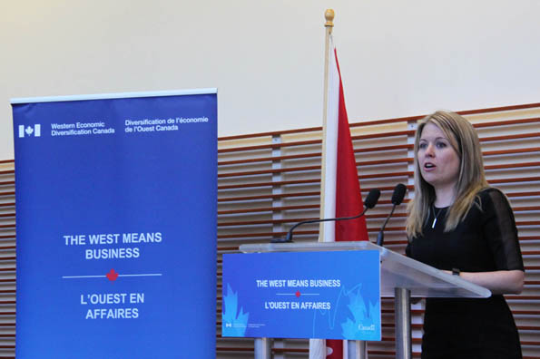 Minister Michelle Rempel speaks at the funding announcement at Surrey Memorial Hospital.