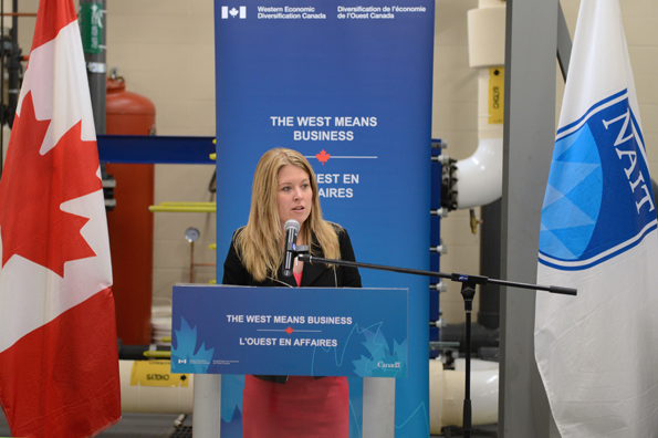 The Honourable Michelle Rempel, Minister of State for Western Economic Diversification, announced $1.5 million in funding to support the NAIT in establishing a testing centre for micro- and nano-coated products.