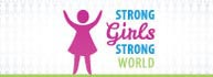 "A silhouette of a girl with her arms raised up high on a grey background with the same silhouette spread throughout. Next to the silhouette is text that says ""Strong Girls. Strong World""."