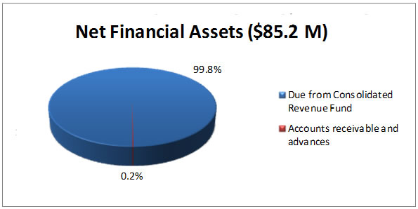 Net Financial Assets ($85.2 M): 99.8% Due from Consolidated Revenue Fund; 0.2% Accounts receivable and advances